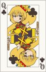 1girl akita_neru blonde_hair card club_(shape) crown eyebrows_visible_through_hair facial_tattoo half-closed_eyes highres holding_stick looking_at_viewer playing_card popsicle_stick queen_of_clubs reflection smile smith_hioka solo symmetry tattoo upper_body vocaloid white_background