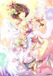 1girl angel_wings bare_back bare_shoulders bell blurry blurry_foreground brown_eyes brown_hair clouds commentary crown crypton_future_media daisy depth_of_field detached_sleeves dress eighth_note flower food from_behind fruit gold_trim grapes hair_flower hair_ornament hatsune_miku_graphy_collection high_heels holding_bell kurisu_sai laurels looking_at_viewer looking_back meiko musical_note official_art open_mouth piapro rainbow ribbon rose short_hair sitting sky smile solo sunlight thigh_strap vocaloid white_dress wings wrist_cuffs wristband