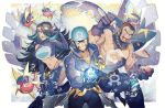 1girl 2boys anchor aogiri_(pokemon) bandana bare_shoulders beard black_hair blue_hair bubble carvanha facial_hair gem gloves goggles goggles_on_head grin hip_vent holding holding_poke_ball izumi_(pokemon) jewelry kusuribe kyogre long_hair looking_at_viewer multicolored_hair multiple_boys muscle navel necklace partly_fingerless_gloves poke_ball pokemon pokemon_(creature) pokemon_(game) pokemon_oras sharpedo shoulder_cutout smile streaked_hair team_aqua uniform ushio_(pokemon) very_long_hair