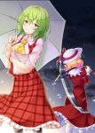 2girls absurdres aka_tawashi ascot ass blonde_hair blush bow breasts commentary_request dress elly eyebrows_visible_through_hair feet_out_of_frame from_behind green_hair green_umbrella hair_between_eyes hat hat_bow highres holding holding_scythe holding_umbrella holding_weapon juliet_sleeves kazami_yuuka large_breasts long_sleeves looking_at_viewer multiple_girls over_shoulder petticoat plaid plaid_skirt plaid_vest puffy_sleeves red_bow red_dress red_eyes red_ribbon red_skirt red_vest ribbon scythe shirt short_hair short_sleeves skirt standing touhou touhou_(pc-98) umbrella vest weapon weapon_over_shoulder white_headwear white_shirt wing_collar yellow_neckwear