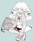 1girl ahoge animal_ears bored bow cardigan cellphone crossed_ankles fluffy hair_bow hand_on_own_cheek hug hug_from_behind long_hair monochrome original phone sheep sheep_ears sheep_girl shoes sitting skirt sneakers socks solo stuffed_animal stuffed_toy terayamaden