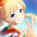 1girl bangs bare_shoulders blonde_hair blue_eyes blush breasts commentary_request face grin hair_ornament idolmaster idolmaster_million_live! jewelry long_hair looking_at_viewer mikapoe necklace ootsuki_yui smile solo