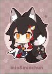 1girl 1other animal_ears bell black_hair chibi commentary_request detached_sleeves highres hololive jingle_bell multicolored_hair muuran ookami_mio orange_eyes sailor_collar skirt tail white_legwear wolf_ears wolf_tail