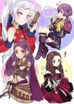 4girls ararecoa bernadetta_von_varley bike_shorts blonde_hair boots bracelet brown_hair candy closed_mouth comb dorothea_arnault dress earrings eating edelgard_von_hresvelg facial_mark fire_emblem fire_emblem:_three_houses food gloves highres holding holding_sword holding_weapon jewelry knee_boots long_hair long_sleeves multiple_girls open_mouth petra_macneary ponytail purple_hair short_dress simple_background sword violet_eyes weapon yellow_gloves