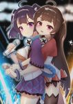 2girls absurdres ahoge alternate_costume ass azur_lane bangs behind_another black_legwear blunt_bangs blunt_ends blurry blurry_background blush breasts brown_hair closed_mouth cowboy_shot dress eyebrows_visible_through_hair from_side glowstick hairband hand_up headphones headphones_around_neck highres holding holding_microphone karu_(ricardo_2628) long_hair looking_at_viewer medium_breasts medium_hair microphone multiple_girls ning_hai_(azur_lane) ning_hai_(dragon_sisters!)_(azur_lane) no_bra open_mouth ping_hai_(azur_lane) ping_hai_(dragon_sisters!)_(azur_lane) pleated_skirt purple_hair purple_skirt raised_eyebrows red_dress red_eyes round_teeth see-through shiny shiny_hair shiny_skin short_sleeves sidelocks single_thighhigh skirt smile sparkle stage_lights standing teeth thigh-highs thighs tongue two-tone_dress under_boob very_long_hair violet_eyes white_dress white_hairband wide_sleeves wireless