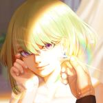 1boy androgynous blonde_hair close-up earrings face highres jewelry lio_fotia lips looking_at_viewer male_focus nail_polish promare short_hair smile umbrella369 violet_eyes