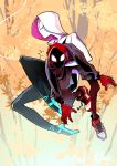 1boy 1girl autumn_leaves ballet_slippers blush bodysuit bodysuit_under_clothes carrying hood hood_up hoodie jacket leaf looking_at_viewer marvel midair shoes shorts silk sneakers spider-gwen spider-man:_into_the_spider-verse spider-man_(miles_morales) spider-man_(series) spider_web spider_web_print tree van_(wdny7282)