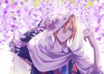 1boy belt blonde_hair blue_eyes blue_neckwear bracer cape dated flower hair_between_eyes hood hooded_cape male_focus necktie outdoors parted_lips solo sorges touken_ranbu upper_body white_background white_hood wisteria yamanbagiri_kunihiro