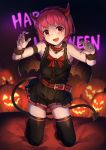 1girl alternate_costume demon_horns demon_tail demon_wings dorothy_haze fang halloween halloween_costume happy_halloween highres horns jack-o'-lantern mr.lime pink_hair red_eyes solo tail thigh-highs va-11_hall-a wings