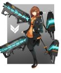 1girl absurdres artist_name black_gloves breasts brown_hair cannon full_body gloves gun highres jacket looking_at_viewer mecha nyxview orange_shirt original rigging shirt shoes smile solo weapon yellow_eyes