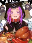 1girl animal_ears animal_hood beer_mug black_gloves bow braid capelet cheese collar fake_animal_ears fate/grand_order fate_(series) fingerless_gloves food fork gloves hood hood_up hooded_capelet long_hair medusa_(lancer)_(fate) monster_hunter monster_hunter:_world open_mouth purple_hair rider saliva sausage shrimp sitting solo star star-shaped_pupils symbol-shaped_pupils turkey_(food) very_long_hair violet_eyes