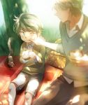 2boys aki_(neyuki41028) aldnoah.zero blue_eyes eating father_and_son food hand_on_another's_face multiple_boys one_eye_closed picnic picnic_basket sandwich short_hair shorts silver_hair slaine_troyard squirrel younger