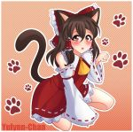 1girl :o animal_ears artist_name ascot bangs bare_shoulders blush bow brown_eyes brown_hair cat_ears cat_tail commentary detached_sleeves diagonal-striped_background diagonal_stripes frilled_bow frills gradient gradient_background hair_between_eyes hair_bow hair_tubes hakurei_reimu hand_up kemonomimi_mode long_hair long_sleeves looking_at_viewer miniskirt open_mouth orange_background outline paw_pose paw_print petticoat red_bow red_skirt ribbon-trimmed_skirt ribbon-trimmed_sleeves ribbon_trim seiza sidelocks sitting skirt skirt_set solo striped striped_background tail touhou white_outline wide_sleeves yellow_neckwear yulynn-chan