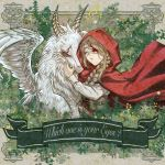 1girl album_cover bandages blood bloody_bandages braid cloak closed_eyes corset cover dragon eyepatch facing_another fantasy hand_up highres horns light_brown_hair long_hair long_sleeves original red_cloak red_hood s0shir0 scar scar_across_eye solo upper_body white_wings wings