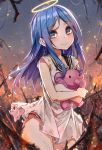 1girl black_sailor_collar blue_eyes blue_hair bruise dress eyebrows_visible_through_hair fire halo highres injury looking_at_viewer object_hug original panties red_panties ruins sailor_collar scratches short_dress solo stuffed_elephant torn_clothes torn_dress underwear wet.elephant white_dress