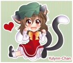 1girl :d animal_ears artist_name bangs black_footwear blush brown_eyes brown_hair cat_ears cat_tail chen commentary dress earrings green_background green_headwear hair_between_eyes hands_up hat heart jewelry long_sleeves looking_at_viewer mary_janes mob_cap multiple_tails nekomata open_mouth outline paw_pose petticoat red_dress shirt shoes short_hair sitting smile socks solo striped striped_background tail touhou two_tails vertical-striped_background vertical_stripes white_legwear white_outline white_shirt yulynn-chan