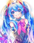 1girl :d absurdres bare_shoulders black_ribbon blue_eyes blue_hair blurry bokeh breasts clenched_teeth colorful curly_hair depth_of_field detached_sleeves diamond-shaped_pupils eyebrows_visible_through_hair eyelashes flower-shaped_pupils grey_shirt hair_between_eyes hair_over_shoulder hair_ribbon hatsune_miku headset highres leaning leaning_to_the_side light_particles long_hair looking_at_viewer microphone open_mouth pink_ribbon ribbon shaded_face shirayuki_towa shirt simple_background sleeveless sleeveless_shirt small_breasts smile solo sparkle star striped striped_ribbon symbol-shaped_pupils teeth twintails upper_body v_arms very_long_hair vocaloid white_background