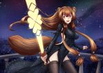 1girl :d adsouto animal_ears artist_name backless_dress backless_outfit bangs black_dress black_legwear breasts brown_hair covered_navel dress floating_hair garter_straps highres holding holding_sword holding_weapon large_breasts long_hair long_sleeves looking_at_viewer night night_sky open_mouth outdoors raccoon_ears raccoon_girl raccoon_tail raphtalia red_eyes shiny shiny_clothes shiny_hair sidelocks sky smile solo standing star_(sky) starry_sky sword tail tate_no_yuusha_no_nariagari thigh-highs very_long_hair weapon