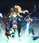 1girl absurdres ahoge artoria_pendragon_(all) baseball_cap blonde_hair blue_eyes blue_jacket blue_scarf breasts commentary_request fate/grand_order fate_(series) green_eyes hair_between_eyes hat highres holding huge_filesize jacket long_hair looking_at_viewer mysterious_heroine_x oguri_(pixiv25574366) ponytail scarf shorts solo sword thigh-highs track_jacket weapon