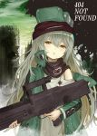 1girl assault_rifle blue_hair blush brown_eyes coat commentary_request d: english_text g11_(girls_frontline) girls_frontline green_coat green_hair gun h&k_g11 hair_between_eyes head_tilt holding holding_gun holding_weapon long_hair looking_at_viewer numazume off_shoulder open_clothes open_coat open_mouth outdoors parted_lips rifle ruins sky solo very_long_hair weapon