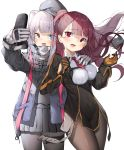 2girls bangs black_dress black_gloves black_jacket black_shirt black_skirt blue_eyes breasts brown_hair brown_legwear cellphone collared_shirt commentary dress eyebrows_visible_through_hair flip_phone girls_frontline gloves grey_headwear hand_on_another's_shoulder heterochromia highres holding holding_cellphone holding_phone jacket lee_seok_ho long_hair long_sleeves mdr_(girls_frontline) medium_breasts multicolored_hair multiple_girls necktie one_side_up pantyhose phone pleated_skirt red_eyes red_neckwear shirt short_necktie silver_hair simple_background skirt streaked_hair very_long_hair wa2000_(girls_frontline) white_background white_gloves white_shirt