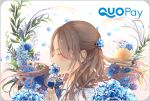 1girl blue_flower brown_hair closed_eyes flower hair_flower hair_ornament holding holding_flower long_hair nyaon_oekaki original petals profile quopay smelling solo upper_body white_background