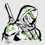cyborg draconety genji_(overwatch) glowing highres hood hood_up katana monochrome ninja overwatch overwatch_2 shoulder_armor signature strap sword watermark weapon