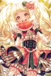 1girl alternate_hairstyle artist_name bang_dream! bangs blonde_hair blurry blurry_background blush breasts dress eyebrows_visible_through_hair food food_print food_themed_hair_ornament frilled_dress frills fruit hair_ornament highres holding holding_food holding_fruit jewelry layered_dress layered_skirt light_particles long_hair looking_at_viewer medium_breasts miro multicolored multicolored_clothes multicolored_dress multicolored_skirt open_mouth pearl_(gemstone) short_sleeves skirt solo striped striped_skirt teeth tsurumaki_kokoro twintails twitter_username upper_teeth very_long_hair water_drop watermelon watermelon_hair_ornament watermelon_print watermelon_seeds wrist_cuffs yellow_eyes