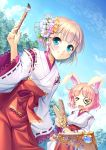 2girls animal_ears august_soft facepaint hagoita hanetsuki highres iris_mysteria! japanese_clothes multiple_girls new_year paddle paintbrush rabbit_ears