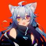 1girl :o ahoge animal_ear_fluff animal_ears bangs bare_shoulders black_jacket black_shirt blue_hair blush brown_eyes copyright_request eyebrows_visible_through_hair fangs hair_between_eyes jacket long_hair looking_at_viewer lowres off_shoulder open_clothes open_jacket open_mouth prophet_chu red_background red_eyes shirt simple_background sleeveless sleeveless_shirt solo twitter_username upper_body