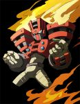 1boy android armor black_background black_eyes fire gloves helmet highres male_focus no_mouth norue6 pose robot rockman rockman_(classic) rockman_11 simple_background solo standing torch torch_man