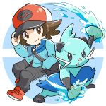 1boy adjusting_clothes adjusting_hat bag baseball_cap black_pants blue_jacket brown_eyes brown_hair chibi dewott full_body gen_5_pokemon hand_in_pocket hat jacket male_focus pants peron_(niki2ki884) poke_ball_symbol pokemon pokemon_(game) pokemon_bw pokemon_masters red_footwear shoulder_bag signature smile touya_(pokemon)