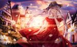 1girl absurdres backlighting bangs bare_shoulders black_bow blue_eyes blue_sky bow brown_headwear bug building butterfly clouds cloudy_sky collarbone commentary daisy dress earrings evening eyebrows_visible_through_hair fate/grand_order fate_(series) fedora feet_out_of_frame flower frilled_skirt frills glint hair_between_eyes hand_up hat hat_bow highres house huge_filesize insect jewelry junpaku_karen long_hair looking_at_viewer marie_antoinette_(fate/grand_order) nail_polish off-shoulder_dress off_shoulder open_mouth outdoors plaid plaid_bow rainbow red_dress red_nails signature silver_hair skirt skirt_hold sky solo standing sunlight sunset town twintails very_long_hair white_flower