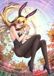 1girl :o adsouto ahoge animal_ears asia_argento ass autumn_leaves backlighting bangs bare_arms bare_shoulders black_bow black_footwear black_hairband black_leotard black_nails blonde_hair blush bow bowtie breasts brown_legwear bunny_tail bunnysuit detached_collar elbow_gloves fake_animal_ears fake_tail floating full_body gloves green_eyes hairband hands_clasped high_heels high_school_dxd highres leaf leotard long_hair looking_at_viewer medium_breasts open_mouth own_hands_together pantyhose parted_bangs rabbit_ears signature sky solo strapless strapless_leotard sunlight tail thighs v-shaped_eyebrows very_long_hair