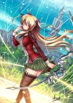 1girl adsouto alisa_reinford artist_name bangs blonde_hair boots bow_(weapon) breasts brown_footwear closed_mouth day dutch_angle eiyuu_densetsu feathers floating_hair from_side green_skirt hair_between_eyes hair_feathers highres holding holding_bow_(weapon) holding_weapon jacket leaning_forward long_hair long_sleeves looking_at_viewer medium_breasts miniskirt outdoors plaid plaid_skirt pleated_skirt red_eyes red_jacket sen_no_kiseki shiny shiny_hair skirt smile solo standing thigh-highs thigh_boots twintails very_long_hair weapon white_feathers zettai_ryouiki