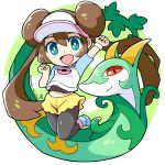 1girl arm_up blue_eyes chibi double_bun gen_5_pokemon jumping long_hair looking_at_viewer mei_(pokemon) navel open_mouth peron_(niki2ki884) pokemon pokemon_(game) pokemon_bw2 pokemon_masters serperior signature smile twintails wristband