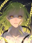 1boy androgynous bangs chain enkidu_(fate/strange_fake) fate/strange_fake fate_(series) green_hair grey_background highres long_hair looking_at_viewer male_focus nyaon_oekaki parted_lips portrait solo yellow_eyes