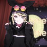 1girl :q bangs black_hoodie black_nails blonde_hair blurry blurry_background blush closed_mouth clouds curtains depth_of_field drawstring eyebrows_behind_hair eyewear_on_head facial_mark fingernails gimmexgimme_(vocaloid) green_eyes hair_ornament hairclip hands_up hood hood_up hoodie kagamine_rin long_sleeves looking_at_viewer multicolored multicolored_nails nail_polish ram_(ramlabo) round_eyewear sleeves_past_wrists smile solo star sunglasses tongue tongue_out upper_body vocaloid yellow_nails