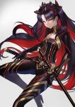1girl absurdres bangs belt black_bodysuit black_bow black_gloves black_hair bodysuit bow breasts cleavage_cutout commentary_request eyebrows_visible_through_hair fate/grand_order fate_(series) gloves gradient gradient_background grey_background grey_eyes hair_bow high_heels highres horns katana long_hair looking_at_viewer multicolored_hair parted_bangs redhead sawawse sheath sheathed small_breasts solo space_ishtar_(fate) sword two-tone_hair two_side_up v-shaped_eyebrows very_long_hair weapon