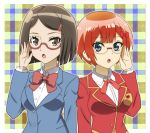 2girls :o bangs blazer blue_eyes blunt_ends bokutachi_wa_benkyou_ga_dekinai bow breasts brown-framed_eyewear brown_eyes brown_hair hair_ornament hairclip houkago_saikoro_club jacket long_sleeves medium_breasts multiple_girls ogata_rizu onomekaman oono_midori orange_hair plaid plaid_background red_bow school_uniform semi-rimless_eyewear short_hair simple_background standing trait_connection upper_body