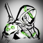 cyborg draconety genji_(overwatch) glowing hood hood_up katana monochrome ninja overwatch overwatch_2 shoulder_armor signature strap sword watermark weapon