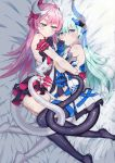 2girls absurdres asymmetrical_horns blue_eyes blush breasts dress flower gloves hair_ornament hair_ribbon highres honkai_(series) honkai_impact_3rd horn intertwined_tails liliya_olyenyey long_hair mechanical_horns mechanical_tail mismatched_gloves multiple_girls open_clothes open_dress red_flower red_rose ribbon rose rozaliya_olyenyey siblings small_breasts sxdd93203 tail thick_eyebrows twins wedding_dress