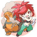 1girl asuna_(pokemon) belt chibi clenched_hand front-tie_top full_body gen_3_pokemon looking_at_viewer midriff navel peron_(niki2ki884) poke_ball_symbol pokemon pokemon_(game) pokemon_masters pokemon_oras red_eyes redhead signature sleeveless smoke torkoal white_belt