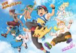 3boys 3girls arm_up baseball_cap black_hair blonde_hair blue_eyes blue_hair blue_sky capri_pants clenched_teeth closed_eyes closed_mouth clouds dark_skin dark_skinned_male flower gen_1_pokemon green_eyes green_hair hair_flower hair_ornament hairband hat kaki_(pokemon) lillie_(pokemon) long_hair mamane_(pokemon) mao_(pokemon) multicolored_hair multiple_boys multiple_girls open_mouth orange_hair outstretched_arms overalls pants pikachu pokemon pokemon_(anime) pokemon_(creature) pokemon_sm_(anime) ponytail redhead satoshi_(pokemon) shirt shoes short_hair short_sleeves shorts signature skirt sky sleeveless spiky_hair spread_arms striped striped_shirt suiren_(pokemon) swimsuit swimsuit_under_clothes teeth twintails white_shirt white_skirt z-ring