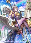 1girl arm_guards armor blue_sky blush breastplate brown_hair clouds cloudy_sky commentary_request company_name copyright_name day fire_emblem fire_emblem_awakening fire_emblem_cipher flower gloves hair_ornament holding holding_weapon kousei_horiguchi long_hair long_sleeves official_art outdoors parted_lips pegasus pegasus_knight petals polearm puffy_sleeves rainbow shoulder_armor shoulder_pads sky smile sparkle spear striped sumia vertical_stripes violet_eyes weapon wings