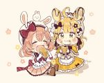 2girls :i ahoge animal_ears animal_hat apron bangs black_bow black_flower blonde_hair blush boots bow brown_background brown_footwear brown_hair brown_skirt bunny_hat capelet closed_mouth commentary_request eating elbow_gloves eyebrows_visible_through_hair fake_animal_ears fang floral_background flower food food_on_face frilled_apron frilled_capelet frilled_skirt frills gloves hair_between_eyes hair_bow hair_flower hair_ornament hair_rings hat highres holding holding_food long_sleeves multiple_girls open_mouth original pleated_skirt rabbit_ears red_bow sakura_oriko shadow shirt sitting skirt sleeveless sleeveless_shirt v-shaped_eyebrows waist_apron white_apron white_flower white_gloves white_headwear white_shirt yellow_capelet yellow_skirt