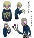 akiione finger_puppet glowing_eyes green_skin hubert_cumberdale humanoid jeremy_fisher long_fingers marjory_stewart-baxter red_eyes salad_fingers_(character) salad_fingers_(series) smile spoon