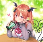 1girl black_sailor_collar blurry blurry_background breast_rest breasts cheek_rest commentary_request cup depth_of_field disposable_cup drinking drinking_straw grey_cardigan hair_ornament hands_up head_wings heart highres holding holding_cup iriam kuyurugi_shigure large_breasts long_hair long_sleeves looking_at_viewer pink_eyes redhead sailor_collar school_uniform shimashima08123 shirt sidelocks solo sparkle table twintails virtual_youtuber white_shirt