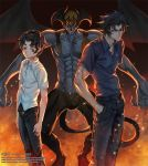 3boys black_eyes black_hair demon demon_boy demon_wings devilman devilman_(character) devilman_crybaby fire fudou_akira head_wings large_wings multiple_boys multiple_persona school_uniform short_hair sideburns thick_eyebrows user_pdnp8878 wings