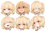 1girl :d ^_^ bangs blonde_hair blush closed_eyes commentary expressions eyebrows_visible_through_hair facing_viewer fang flandre_scarlet gotoh510 hair_between_eyes hand_up happy_tears head_tilt highres looking_at_viewer multiple_views no_hat no_headwear one_side_up open_mouth parted_lips red_eyes shaded_face short_hair simple_background smile sweat symbol_commentary tears touhou translation_request white_background